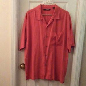 Bachrach Men Orange Casual Dress Shirt Sz XL